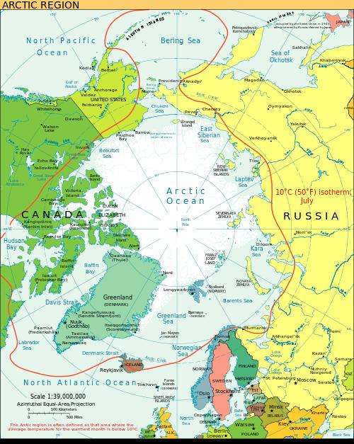 【北極海周辺の地図  】
