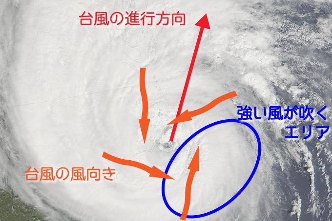 台風で風が強いエリア~進行方向・風向きによるもの